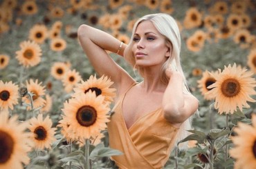 Miss Sweden in a flower paradise